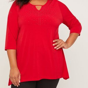 Red Embellished Tunic Top NWT-5X
